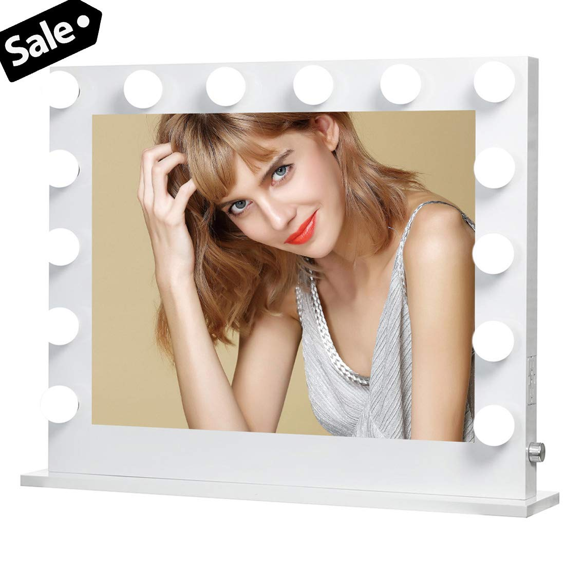 ICREAT CREAT Lighted Makeup Mirror, Hollywood Vanity Mirror with 14 Bulbs, Wall Mounted Mirror with Dimmer, Tabletop Mirrors for Makeup, Large Mirror with 2 USB Outlet, White