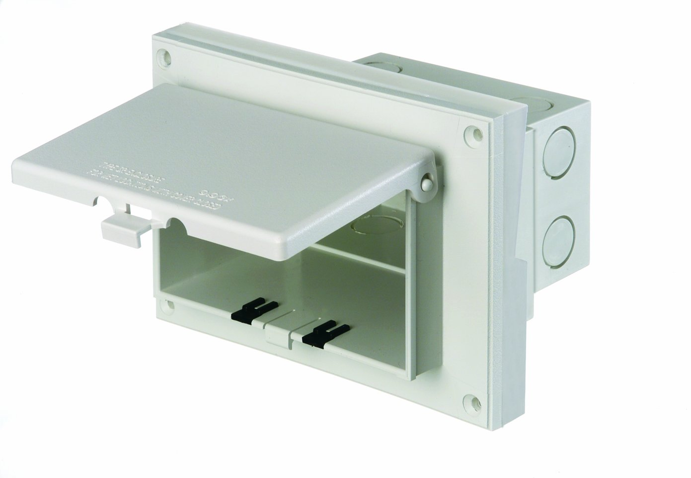Arlington DBHR151W-1 Low Profile IN BOX Electrical Box with Weatherproof Cover for Retrofit Siding Construction, 5/8-Inch Lap, Horizontal, White by Arlington Industries