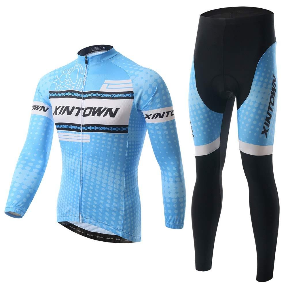 Pinjeer Sky Blau Fashion Outdoor Fahrrad Radfahren Jersey Kleidung für Männer Frühling Herbst Atmungsaktive und Hohe Elastizität Team Bike Jersey Männer Langarm Sets