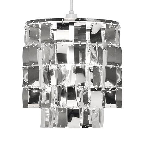 MiniSun - Moderna y glamurosa pantalla para lámpara de techo, plateada y redonda de 2 niveles