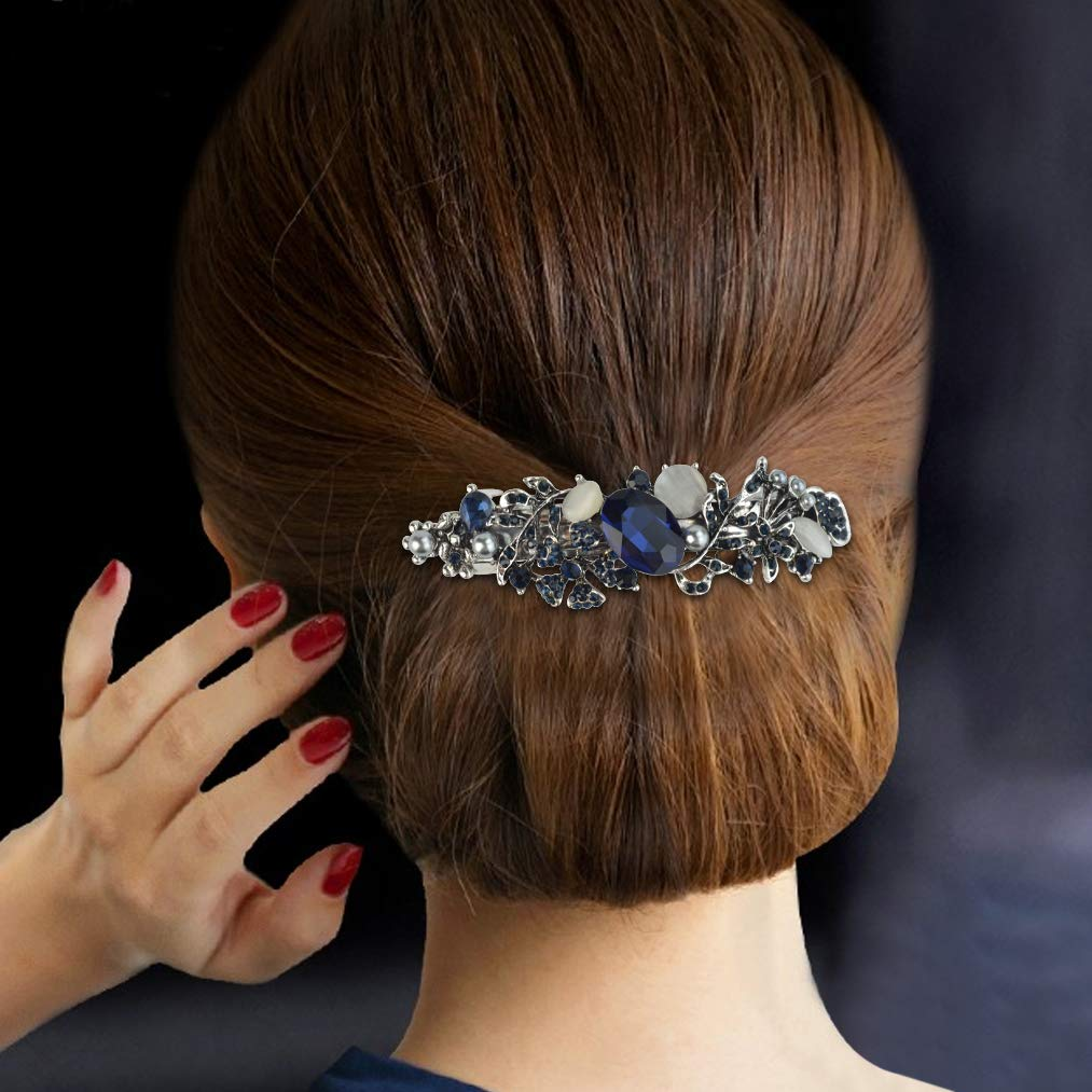 mifengda 5 Pieces Crystal Rhinestones Hair Barrettes Fashion Girls Small Crystal Hairpins Flower Butterfly French Clip Vintage Hair Clips Bridal Wedding Hairpins Jewelry Accessory for Women or Girls