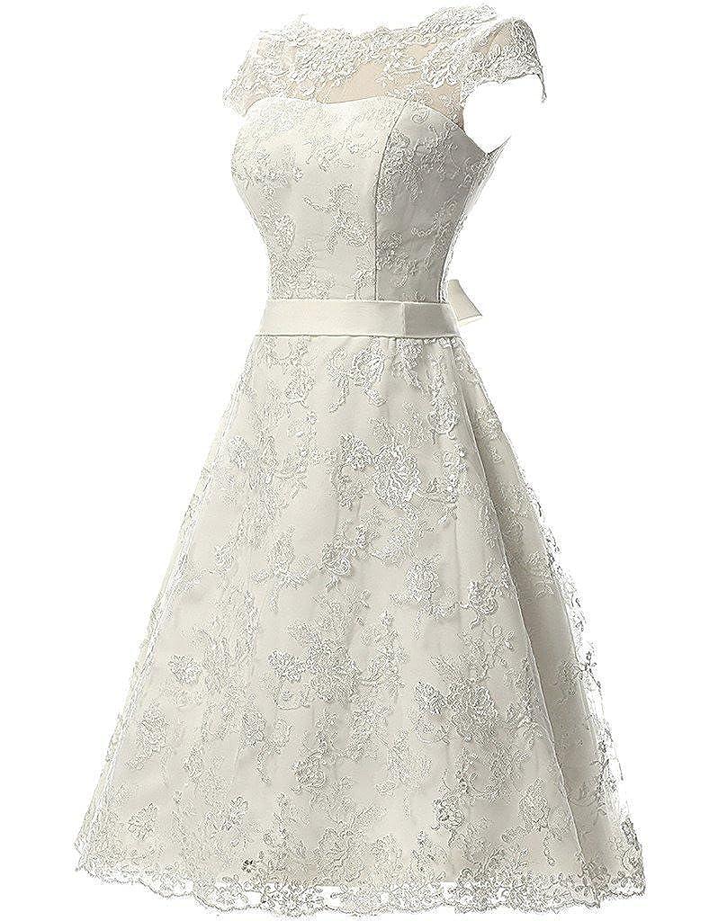 DZdress Womens Cap Sleeve Sashes Short Lace Knee-length Wedding Gown Dress