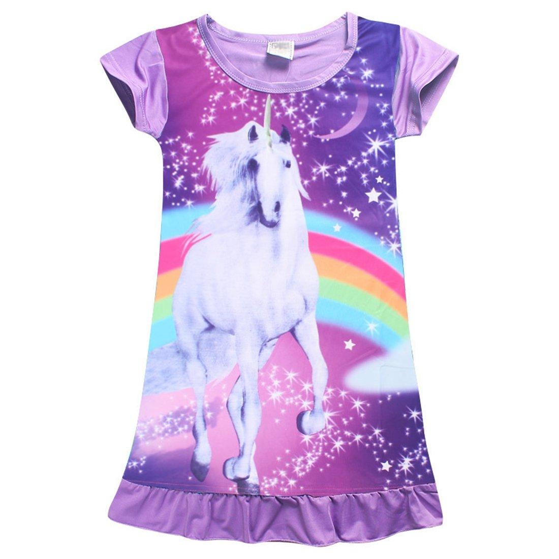 FEESHOW Girls Summer Short Sleeve Rainbow Cartoon Pajamas Night Dress Nighgown Sleepwear Costumes Purple 5-6