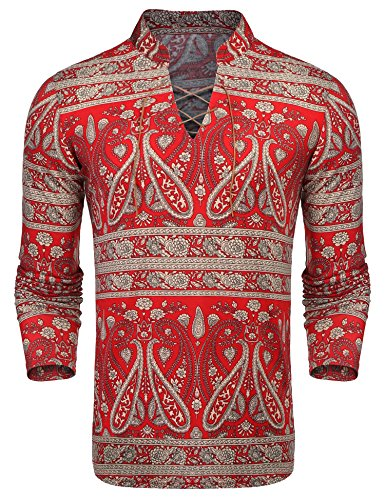 Print Hipster Pant - COOFANDY Mens Paisley Print Shirts Slim Fit V-Neck Floral Casual Cotton Long Sleeve Lace-up Shirt,Red,Large