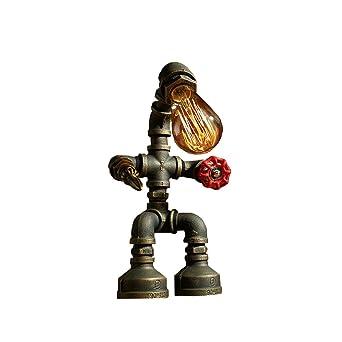 Tonys Home Industrial Retro Style Rost Eisen Roboter Sanitr Rohr Tisch Lampe Licht Mit Roten