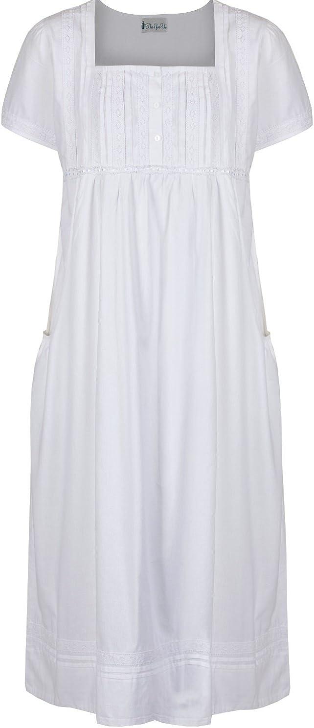 XXL The 1 for U 100/% Cotone Camicia da Notte con Tasche Bianco Bianco Lara