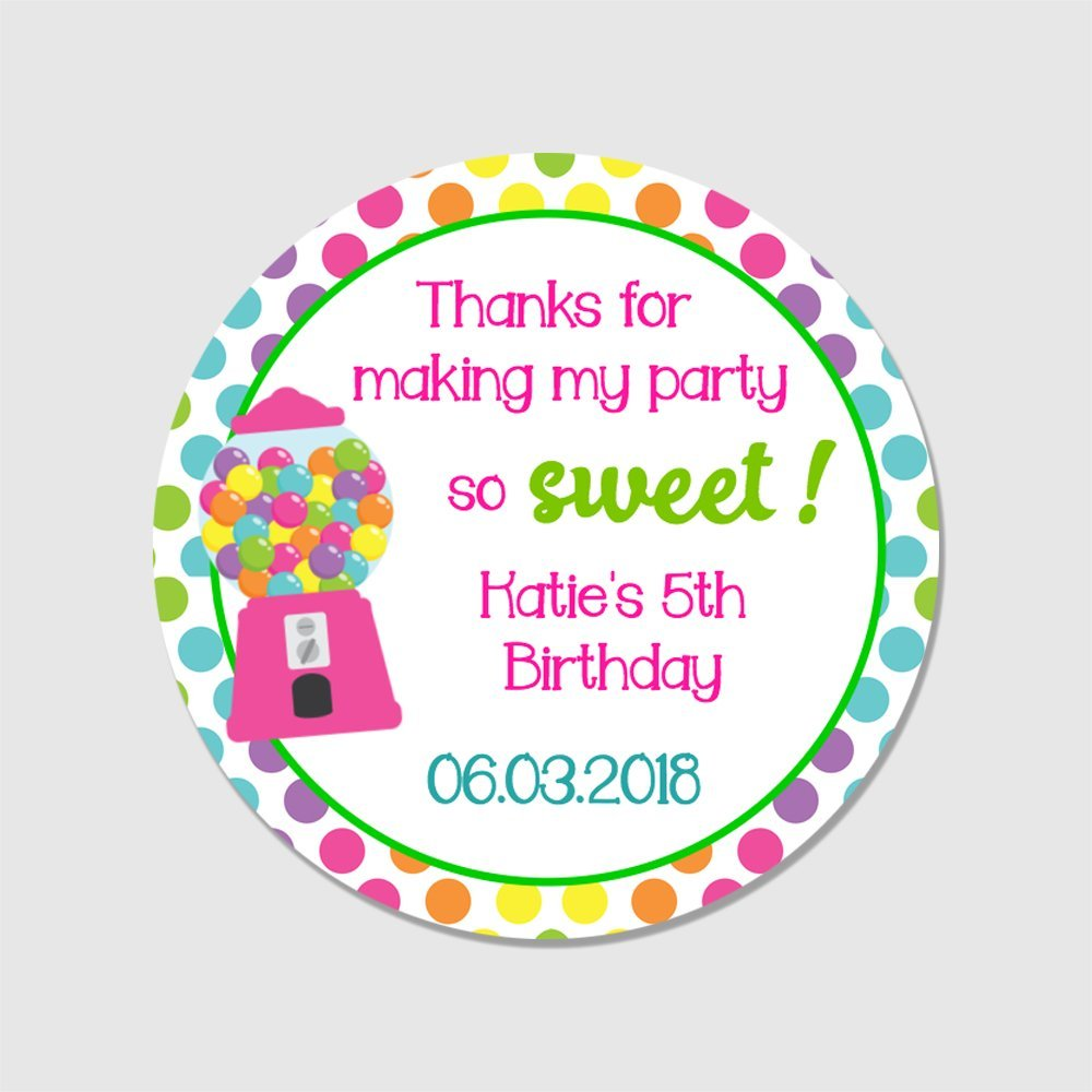 Amazon com 20 customized round kids candy party favor stickers thank you for making my party so sweet labels bd110 office products
