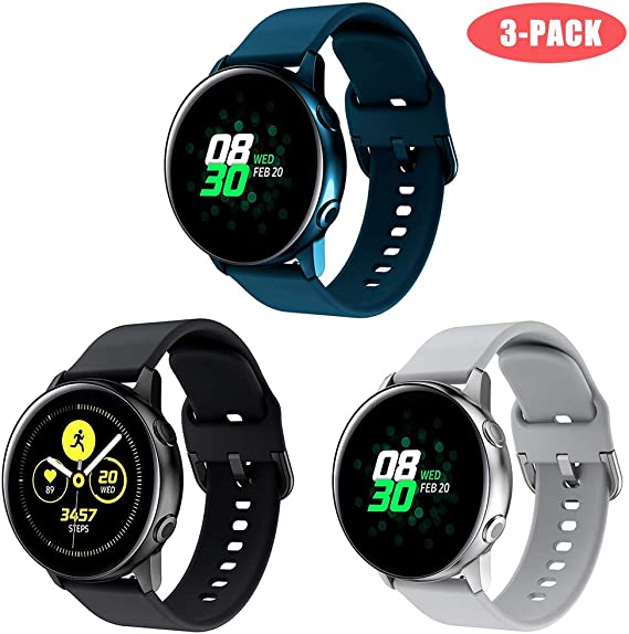 Junboer Silicone Band Compatible with Samsung Galaxy Watch Active/Active2 40mm/44mm Band, 20mm Silicone Sport Band Strap Wristband Replacement for ...