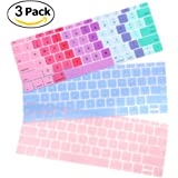 iCasso 3 PackKeyboardCoverUltraThinSilicone SkinProtectorforMacBookPro13 Inch 2017&2016ReleaseA1708(No Touch Bar)&NewMacBook 12InchA1534 (Serenity Blue/ Baby Pink/Gradient Color)