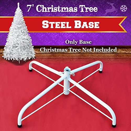 Steel Base Metal Stand for 5/6/7/7.5ft Christmas Tree Green Christmas Decor (7', White) by BenefitUSA