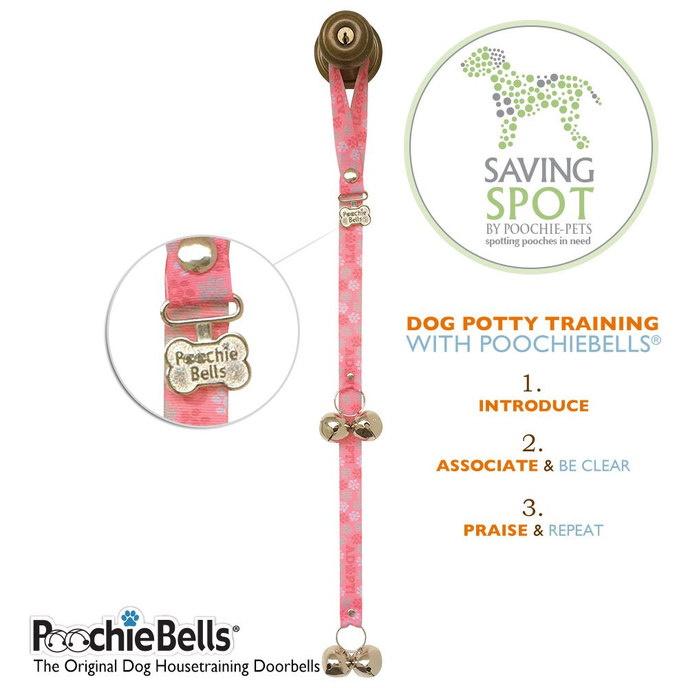 PoochieBells Authentic Saving Spot Rescue & Adopt Program Classic Housetraining Dog Doorbells - Coral