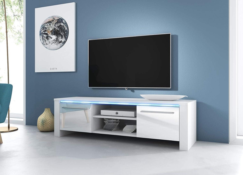 VIVALDI Mueble para TV - MANHATTAN 2 - 160 cm - Blanco Mate con Blanco Brillante con iluminación LED Azul - Estilo Design: Amazon.es: Hogar