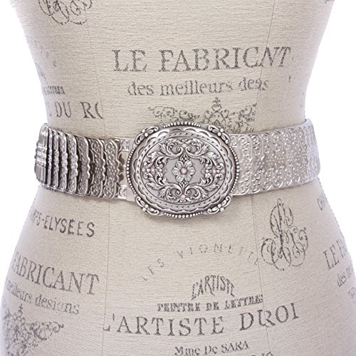 Western Rhinestone Floral and Scroll Elastic Sequent Metal Stretch Belt, Silver | M/L