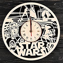 7ARTS Star Wars Galactic Empire Wooden Clock – Decorative Wall Clock Made from Eco Wood with Silent Quartz Movement and Autonomous Power Source - Can be Painted, Great Gift Idea
