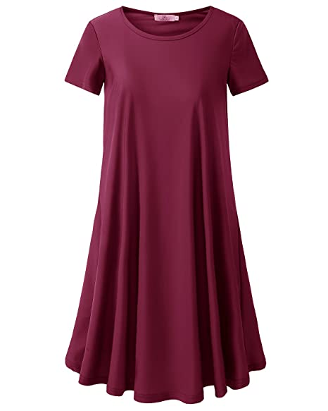 1febf055994 Homrain Women s Summer Comfy Casual Short Sleeve T-Shirt Loose Swing Tunic  Dress Burgundy S