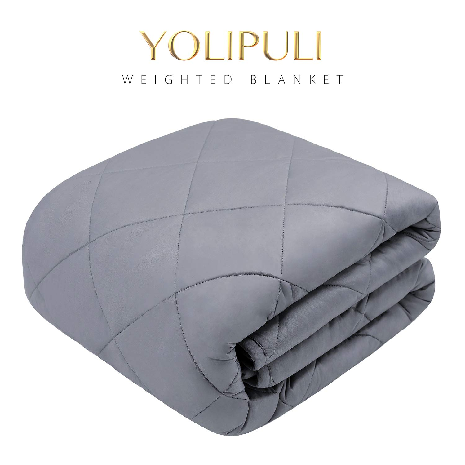 YOLIPULI Weighted Blanket 15 lbs for Kids Adult, Twin/Full Size, 48''x72'' Heavy Blanket, 100% Cotton Filled with Premium Glass Beads, Grey by YOLIPULI