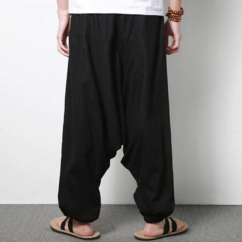 kangkangmei Streetwear Pants Men Hip-hop Drop Crotch Cotton Wide Leg Pants Nepal Trousers Men Loose Pant