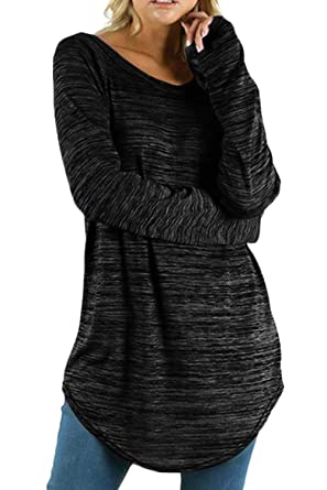 MAGIMODAC Damen Langarmshirts Pulli T-Shirt Tops Leicht Rundhals Pullover  Sweatshirt Oberteil Große Größe Einfarbig f400656462