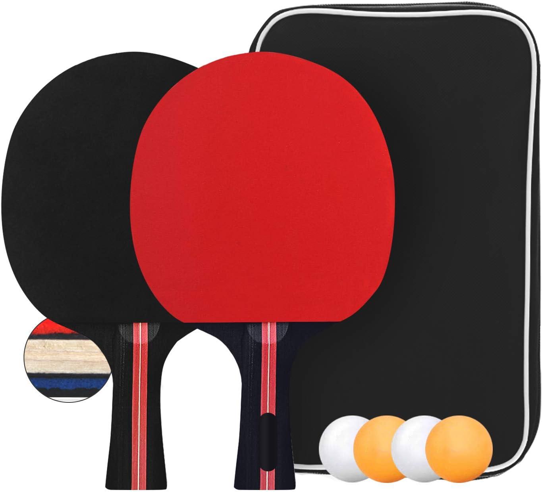 Ping Pong Paddel Set aus Gummi professionelle Tischtennisschl/äger mit 3 B/ällen Senston Tischtennisschl/äger Set