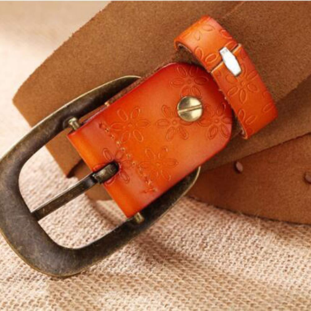 Uiophjkl Banda de Cintura Cinturones de Cuero Genuino para Mujeres Dise/ño de Repujado de Piel de Vaca Hebilla Talla Grande Adecuado para Uso Diario Color : Caf/é, tama/ño : 105cm