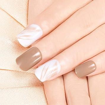 Doreliss uñas postizas 30 Pcs Consejos corto uñas falsas de Pegamento adhesivo de doble cara Milord