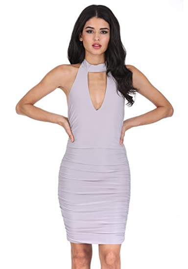 78e002346a664 AX Paris Women s V Neck Choker Neck Ruched Dress at Amazon Women s ...