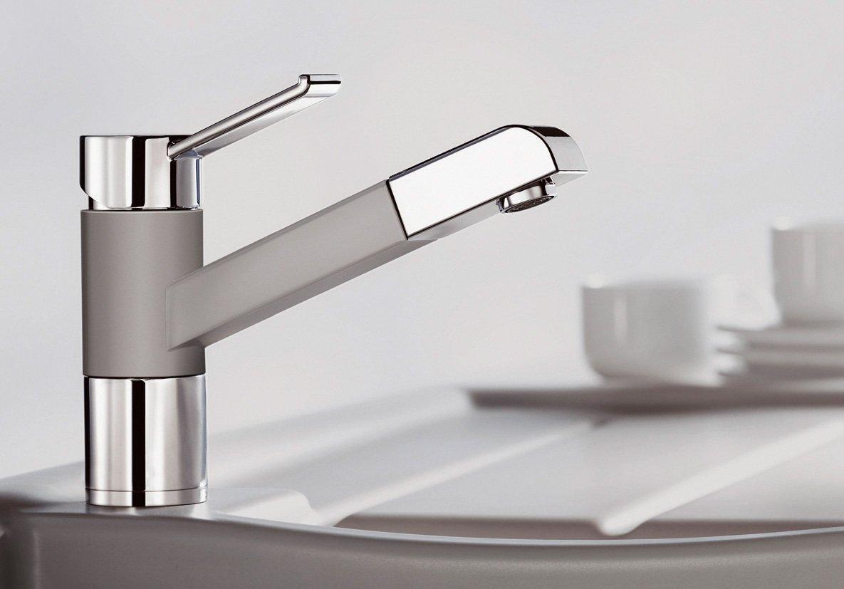 ZENOS S, Küchenarmatur, SILGRANIT Look, Cafe/chrom, Hochdruck .