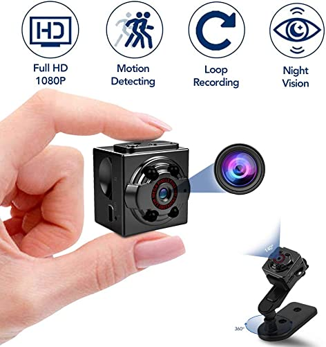Hidden Mini Spy Camera, 1080P Full HD Nanny Cam, Night Vision Motion Activation for Indoor Outdoor Portable Secret Surveillance Covert Security Small Camera