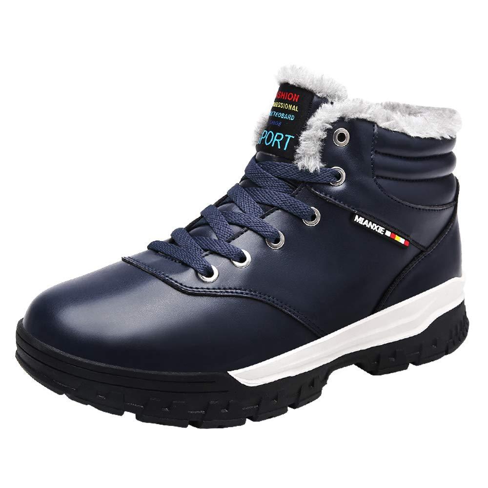 TALLA 45 EU. LANSEYAOJI Hombres Botas de Nieve Invierno Calentar Fur Forrado Botines Al Aire Libre Cálido Botas Casual Plano Zapatos con Cordones Cuero Zapatos Deportivos Impermeable Tamaño Grande