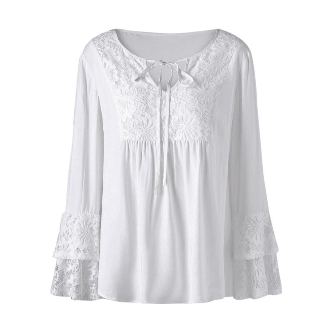 Women Blouse Tops Tshirt MITIY Plus Size V-Neck Lace Solid Loose Long Sleeve Tee White