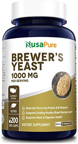 Brewers Yeast 1000mg 200 Vegetarian Caps Non-GMO Gluten Free Supports Heart Health and Digestion