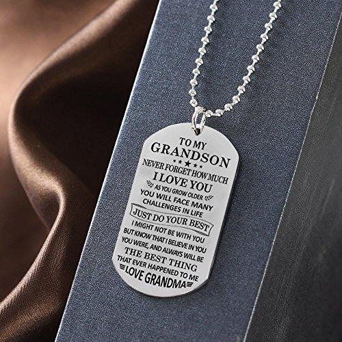 Stashix To My Grandson Never Forget How Much Love You Grandma Grammie Nana Grammy Dog Tags Pendant Necklace Birthday Gift Jewelry Graduation Military Birthday Anniversary Personalized by Stashix (Image #3)