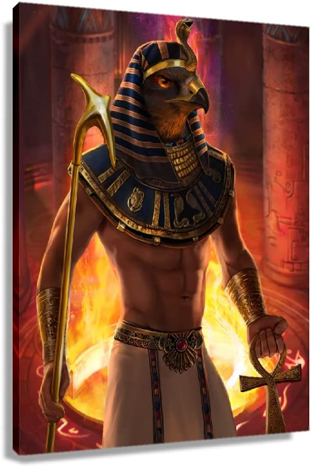 ZLYKING Egyptian Mythology Sun God Poster Painting Canvas Bedroom Decor Wall Art Decoration Home Prints Photo Painting Oil Wall Artwork for Office Pictures for Kitchen Vertical Canvas (12x18inch(30x45cm),Unframed)