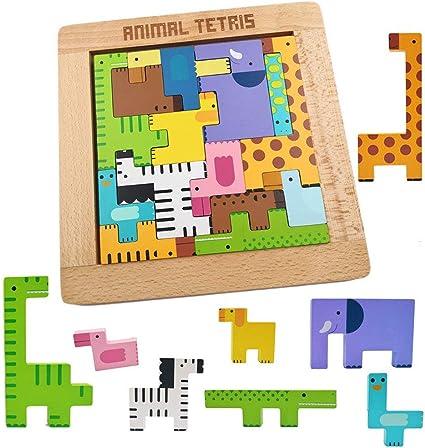 Mowtom Rompecabezas de Madera Tetris Rompecabezas Tangram Juguetes Rompecabezas de Animales Juegos de Cerebro, Juguetes educativos de Inteligencia, Educativos geométricos para niños: Amazon.es: Hogar