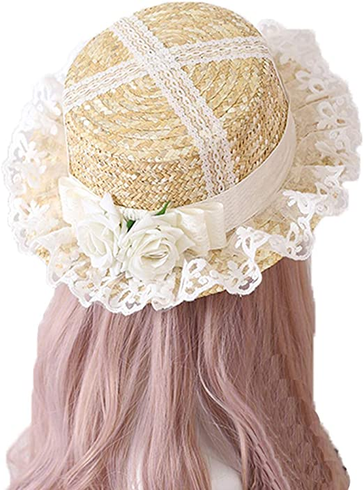 Packitcute Sun Hats for Women UV Protection Summer Sweet Cute Lolita Lace Straw Hat