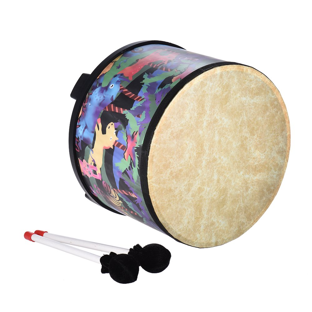 ammoon 10 Inch Wooden Floor Drum Gathering Club Carnival Percussion Instrument with 2 Mallets for Kids Children