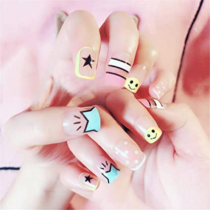 Nail Art Tip & Glue Cartoon Star Smile Pattern Artificiales ...
