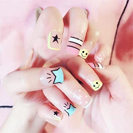 Nail Art Tip & Glue Cartoon Star Smile Pattern Artificiales uñas postizas Perfect Length Full Cover