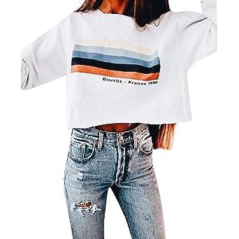 ALIKEEY Manga Larga De Las Mujeres Rainbow Stripes Sweatshirt Pullover Letter Tops Blusa Bebe Capucha Camisetas Originales: Amazon.es: Ropa y accesorios