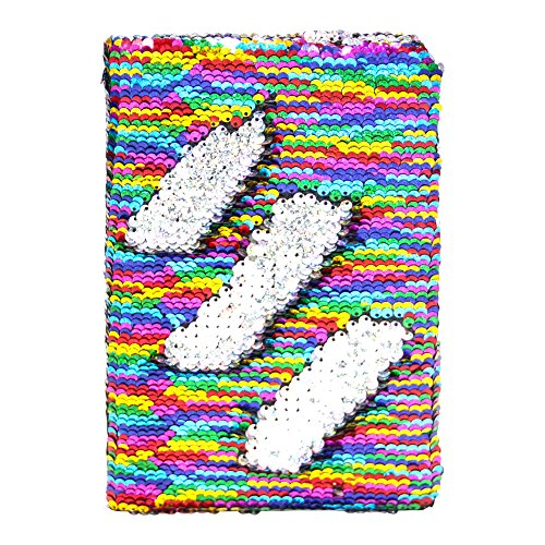 MHJY Sequin Journal Mermaid Sequin Notebooks Reversible Glitter Journals School Diary Notebook Color-Changing Notebook for Girls Gift (Rainbow/Sliver) (Journal Paper Rainbow)