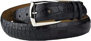 product image for Black Matte Alligator Belt Strap with Solid Sterling Silver Dress Belt Buckle