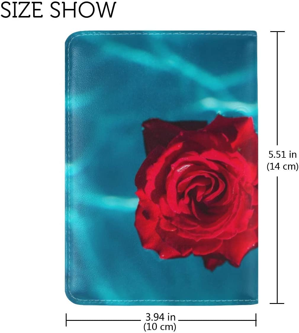 Rose Bud Water Leather Passport Holder Cover Case Travel One Pocket