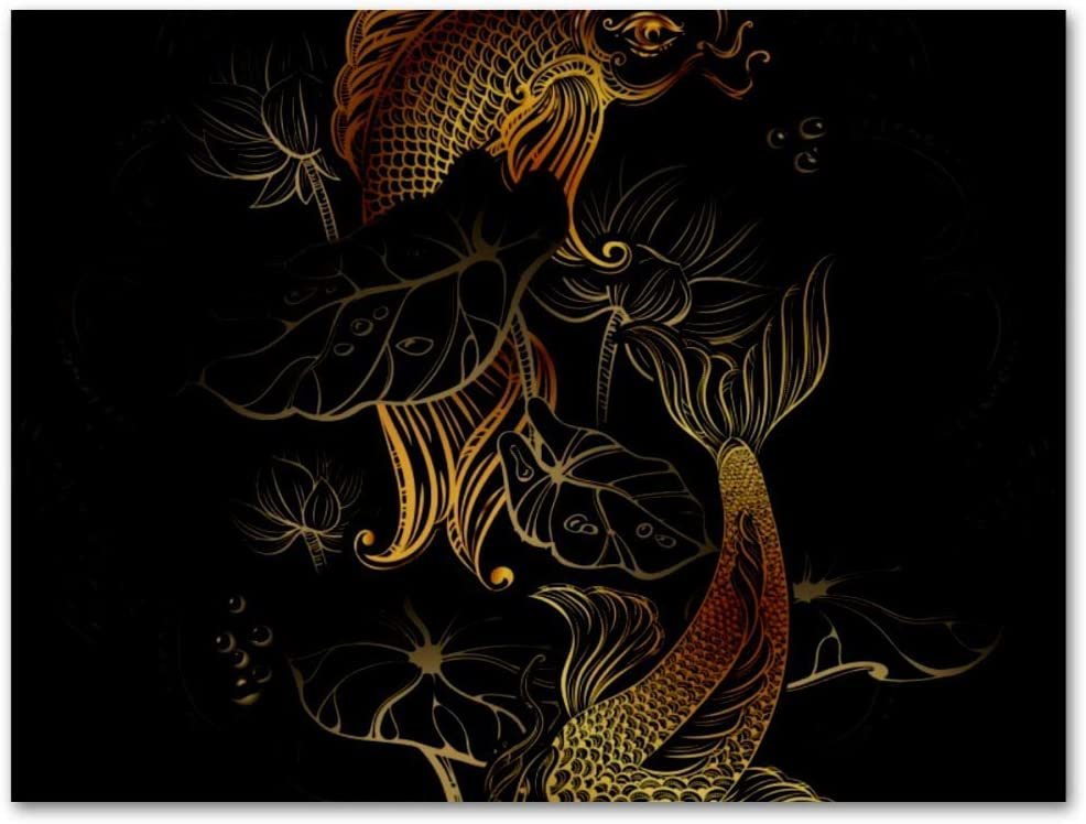 MAPOLO Art Koi Carps and Lotus Oil Painting for Modern Home Decor Abstract Color Canvas Wall Art Paintings Print for Bedroom Living Room Kitchen Framed