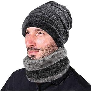 XIAOYAO Gorros de Invierno con Bufanda Sombrero Punto con Forro Polar  Interno es Muy Suave ( 476551a6d72