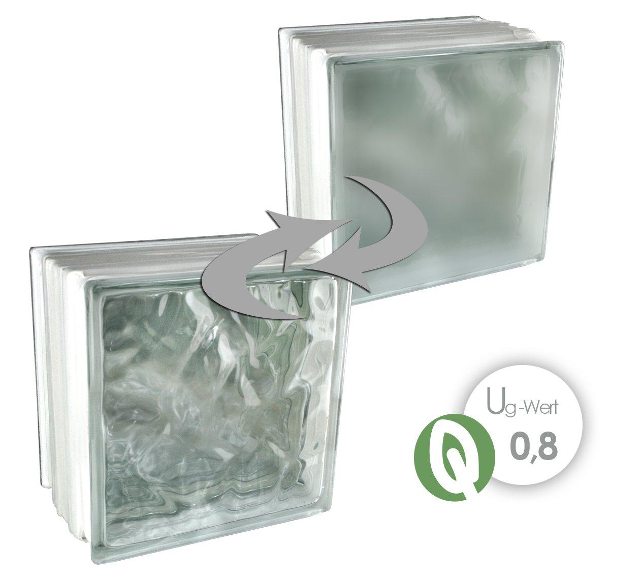 3 piezas Fuchs THERMO BLOCK Plus Bloques de vidrio Nube Blanco Satinado por un lado (Vidrio mate) 19, 8x19, 8x13, 5 cm - Té rmico (Econó mico de energí a) 5 cm - Térmico (Económico de energía) Fuchs Design
