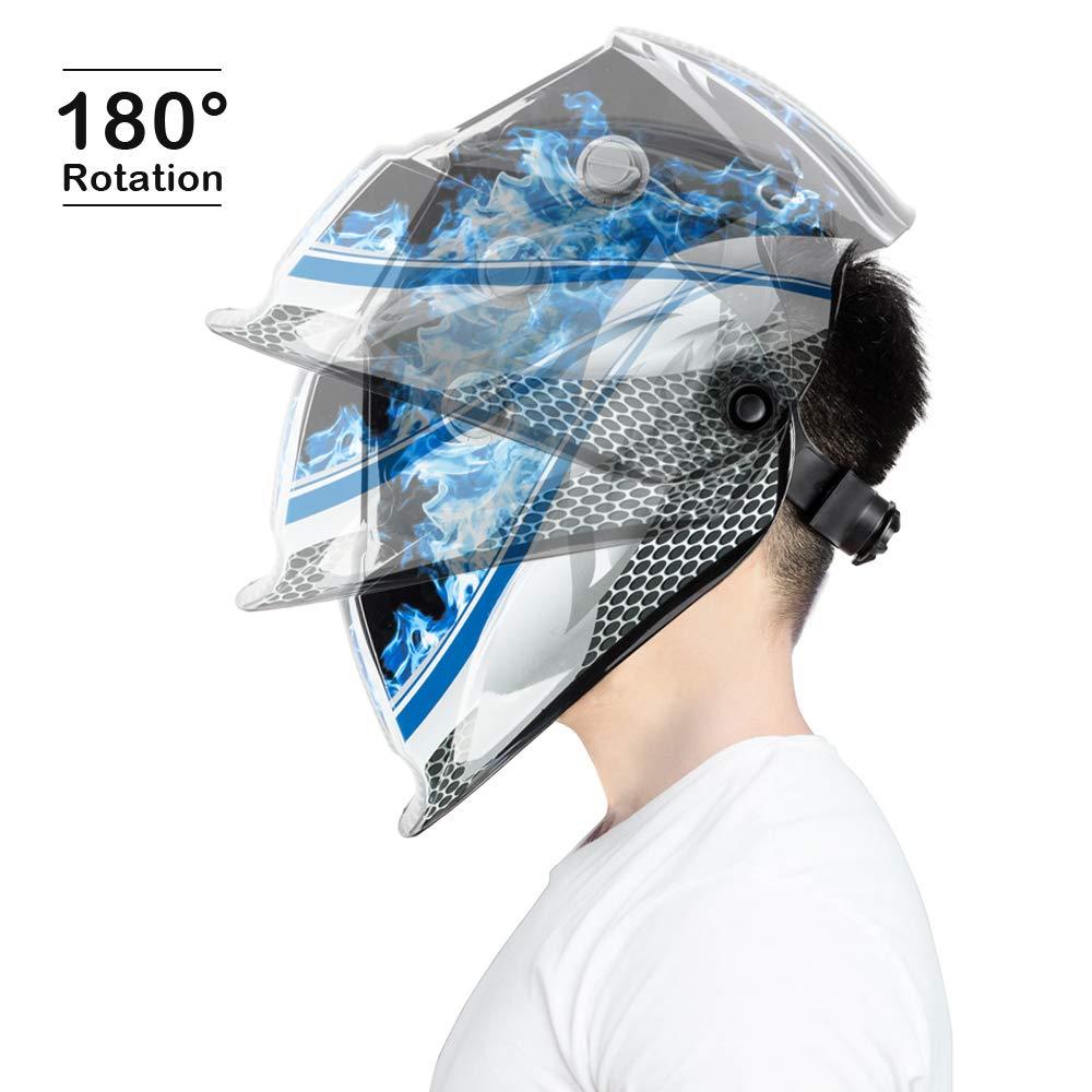 Z ZTDM Welding Helmet Solar Auto Darkening,Adjustable Shade Range DIN 9-13//Rest DIN 4,Welder Protective Gear ARC MIG TIG,gift 2pcs Extra Lens+CR2032 Battery,CE EN379 ANSI Z87.1 Blue Racer
