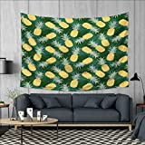 Anhuthree Hawaii Tapestry Table Cover Bedspread Beach Towel Monochrome Palm Leaves with Exotic Pineapples Blooming Foliage Dorm Decor 71''x60'' Yellow Fern Green Pale Green