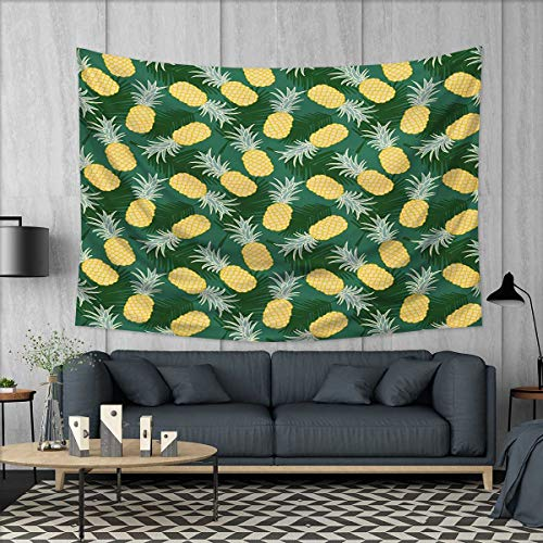 Anhuthree Hawaii Tapestry Table Cover Bedspread Beach Towel Monochrome Palm Leaves with Exotic Pineapples Blooming Foliage Dorm Decor 71''x60'' Yellow Fern Green Pale Green by Anhuthree