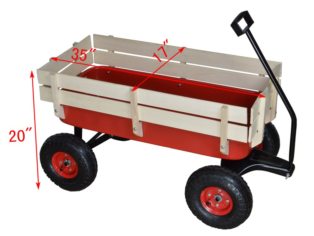 TMS Outdoor Wagon All Terrain Pulling w/Wood Railing Air Tires Children Kid Garden by TMS (Image #2)