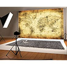 Laeacco 7x5ft Vinyl Thin Photography Backgrounds Retro World Map Art Wall Pattern Photo Backdrop Studio Props